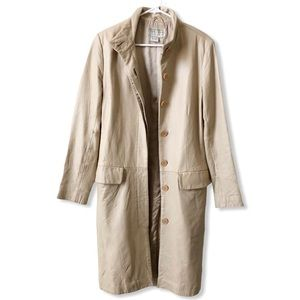 Vintage Paradox Beige Cream Long Leather Coat Sz 6